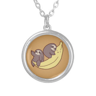 Giant Banana Sloths Silver Plated Necklace