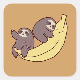 Giant Banana Sloths Square Sticker