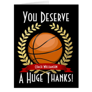 Giant Basketball Coach Thank You Black Big Greeting Card