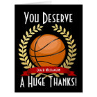 Giant Basketball Coach Thank You Black Card