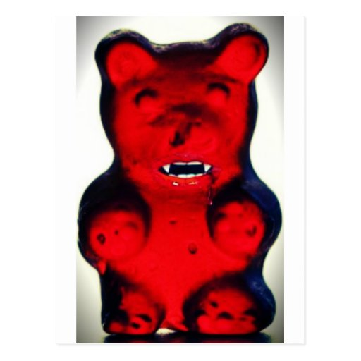 Giant Blood Sucking Candy Bear Post Card