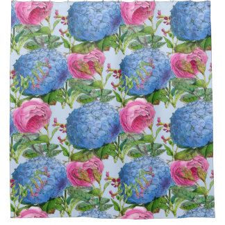 Giant Blue Hydrangeas and Rose Pattern Shower Curtain