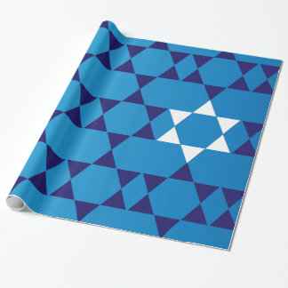 Giant Blue Jewish Stars Wrapping Paper