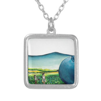 Giant Blueberry Silver Plated Necklace