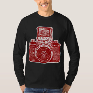 Giant East German Camera - Maroon and White T-shirt