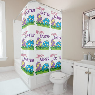 Giant Easter Eggs Happy Easter Shower Curtain
