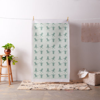 Giant Funny Mint Cats  Pattern White Fabric