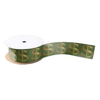 Giant Golden Dollar Sign Ribbon Satin Ribbon