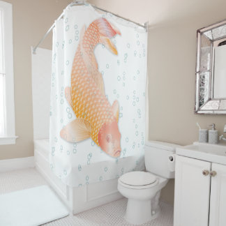 Giant Golden Koi with Blue Bubbles Shower Curtain