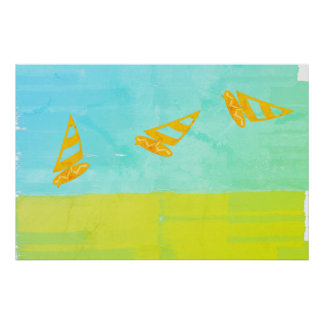 Giant Gone Surfing Wind Surf Mint Yellow Poster