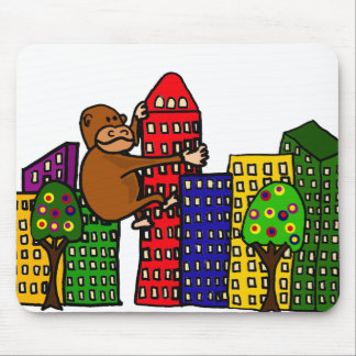 Giant Gorilla Hugging Tall Building Mouse Pad