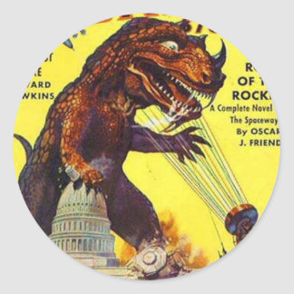 giant Lizard Monster Classic Round Sticker