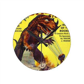 giant Lizard Monster Round Clock