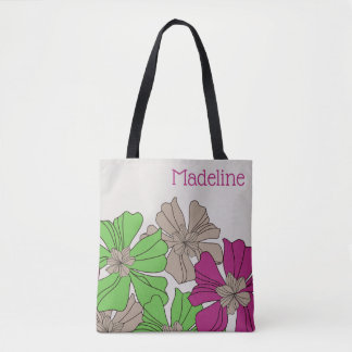 Giant Magenta, Green and Taupe Floral Tote Bag