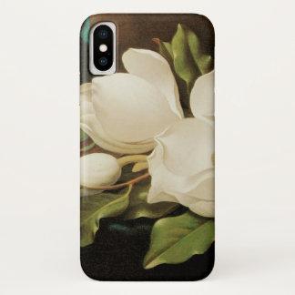 Giant Magnolias on a Blue Velvet Cloth by MJ Heade iPhone X Case