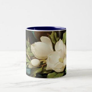Giant Magnolias on a Blue Velvet Cloth by MJ Heade Two-Tone Coffee Mug