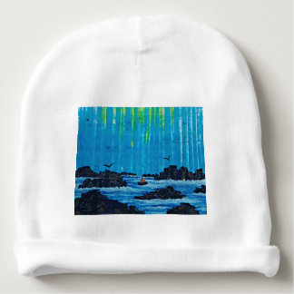 Giant misty forest by river baby beanie