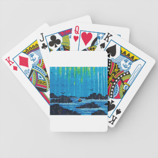 Giant misty forest by river bicycle playing cards