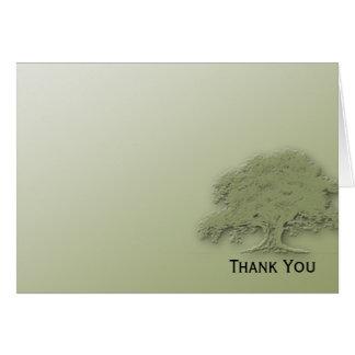 Giant Oak on Green Field Note Card