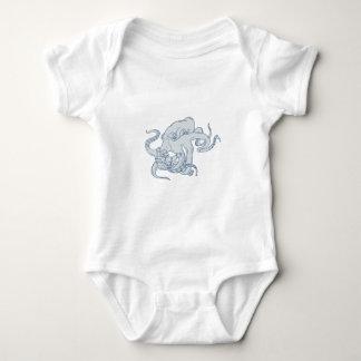 Giant Octopus Fighting Astronaut Drawing Baby Bodysuit