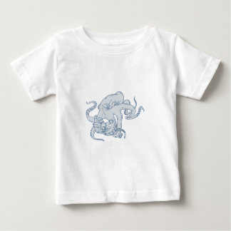 Giant Octopus Fighting Astronaut Drawing Baby T-Shirt
