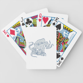 Giant Octopus Fighting Astronaut Drawing Bicycle Playing Cards
