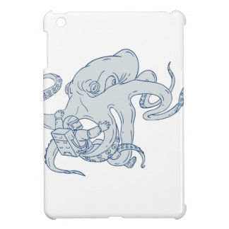 Giant Octopus Fighting Astronaut Drawing iPad Mini Covers