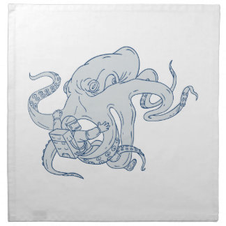 Giant Octopus Fighting Astronaut Drawing Napkin