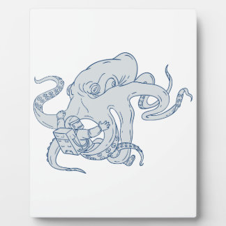 Giant Octopus Fighting Astronaut Drawing Plaque
