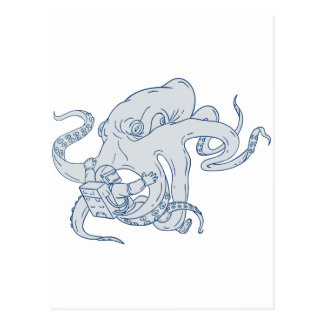 Giant Octopus Fighting Astronaut Drawing Postcard