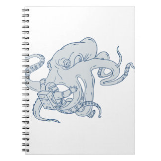 Giant Octopus Fighting Astronaut Drawing Spiral Notebook