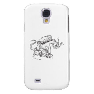 Giant Octopus Fighting Astronaut Tattoo Galaxy S4 Cover