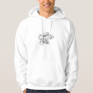 Giant Octopus Fighting Astronaut Tattoo Hoodie