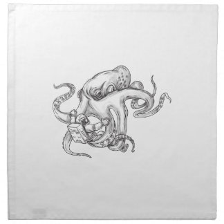 Giant Octopus Fighting Astronaut Tattoo Napkin