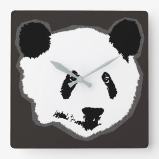 Giant Panda Bear Face Square Wall Clock