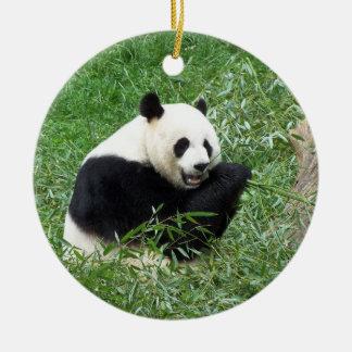 Giant Panda Eating Bamboo Round Ceramic Decoration