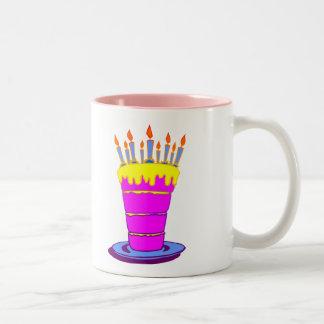 Giant Pink Birthday Cake Two-Tone Mug