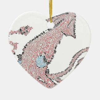 Giant pink squid mosaic ceramic heart decoration
