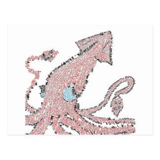 Giant pink squid mosaic postcard
