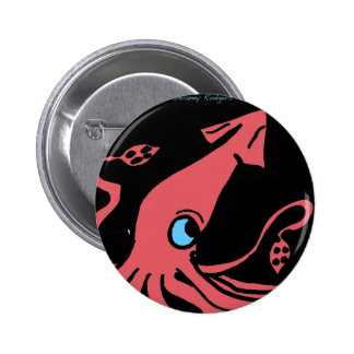 Giant pink squid on black background 6 cm round badge