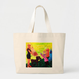 Giant, Pizza, Dog and Cow Large Tote Bag