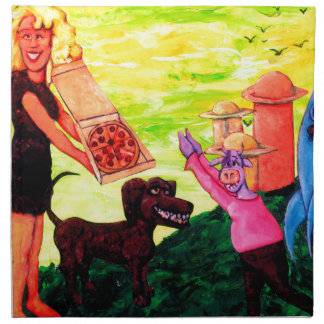 Giant, Pizza, Dog and Cow Napkin