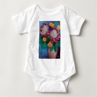 Giant Proteas and Orange Roses Baby Bodysuit