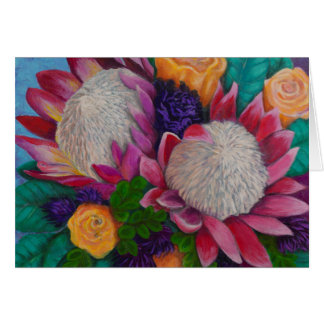 Giant Proteas and Orange Roses Card