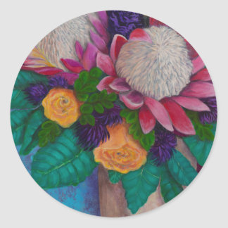 Giant Proteas and Orange Roses Classic Round Sticker