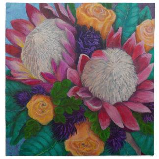 Giant Proteas and Orange Roses Napkin