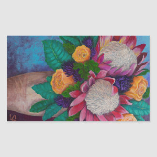 Giant Proteas and Orange Roses Rectangular Sticker