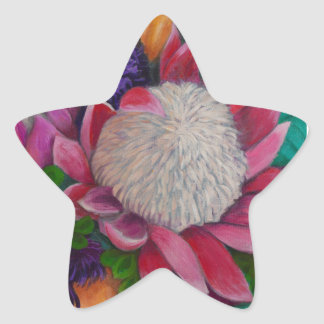 Giant Proteas and Orange Roses Star Sticker