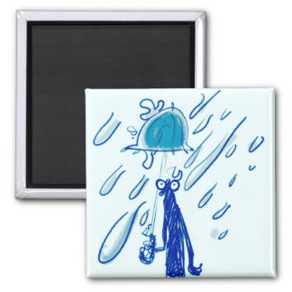 giant rain drops and sketch man with umbrella magnet
