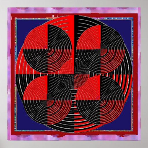 Giant Red Black Silver Line Live Chakra Mandala Print
